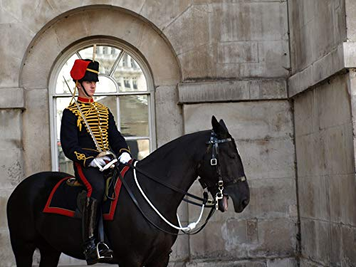 Britain Horse - Canvas Print Uniform Military Guard Great Britain Horse London Vivid Imagery Stretched Canvas 32 x 24
