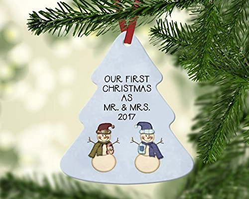 Papa Snowman - Our First Christmas as Mr. and Mrs. Snowman Ornament - Customize the Year