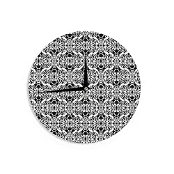 KESS InHouse Mydeas Illusion Damask Black & White Monochrome Wall Clock, 12