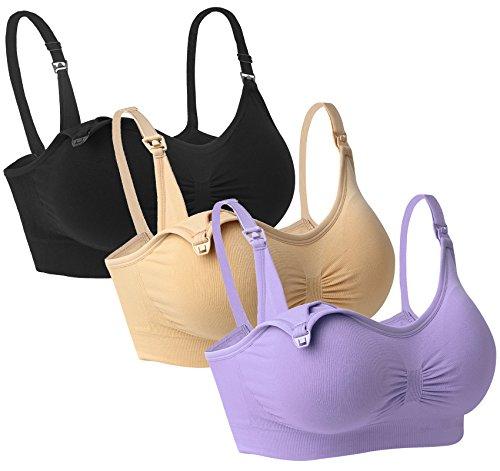 Nursing Home Gowns - iLoveSIA Womens Full Bust Nursing Bra Seamless Sleep Bra Black Purple Nude Size XL