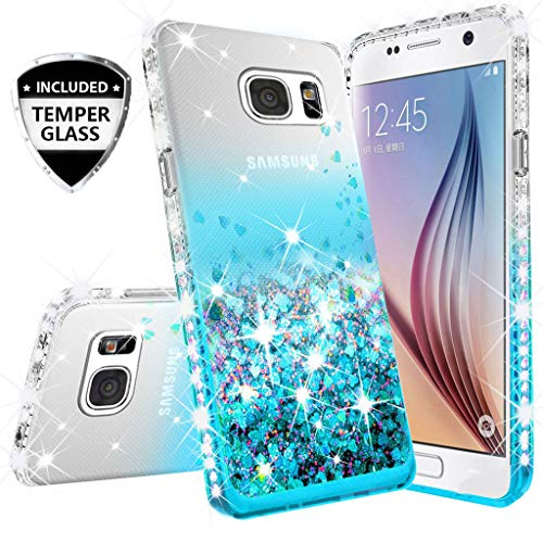 Compatible for Samsung Galaxy S7 Case, with [Temper Glass Screen Protector] SOGA Diamond Glitter Liquid Quicksand Cover Cute Girl Women Phone Case [Clear/Teal] ()