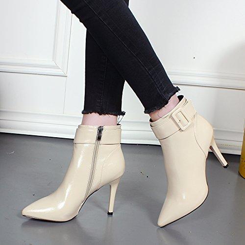 KHSKX-Bien Con Sexy Botas De Tacón Alto Mujer Hebilla Martin Nuevas Botas De Invierno Botas De Cremallera En El Lado Beige