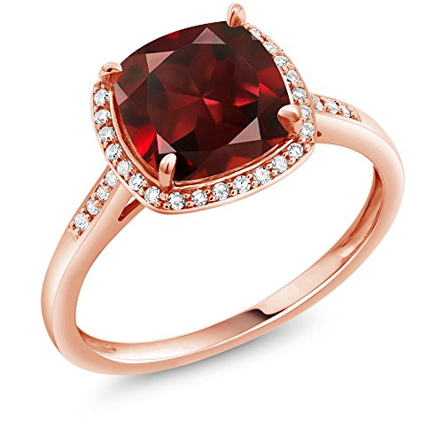 Gem Stone King 2.74 Ct Cushion Red Garnet 10K Rose Gold Engagement Ring with Diamond Accent (Size 7)
