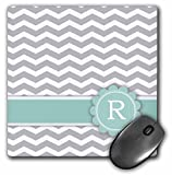 3dRose Letter R Monogrammed On Grey and White Chevron with Mint, Gray Zigzags, Personal Initial Zig Zags Mouse Pad (mp_154237_1)