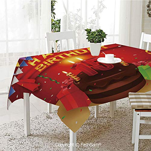 Premium Waterproof Table Cover Teenage Party Set Up with Colorful Flags Ribbons Balloons Cake Washable Table Protectors for Family Dinners(W60 xL104) ()