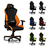NITRO CONCEPTS S300 Gaming Chair - Office Chair - Horizon Orange - Ergonomic - Cloth Cover - Up to 300 lbs Users - 90° to 135° Reclinable - Adjustable Height & Armrests