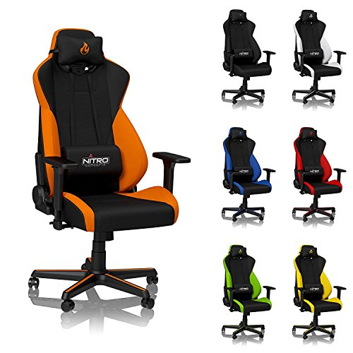NITRO CONCEPTS S300 Gaming Chair - Horizon Orange - Office Chair - Ergonomic - Cloth Cover - Up to 300 lbs Users - 90° to 135° Reclinable - Adjustable Height & Armrests