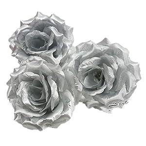 "ALLHEARTDESIRES 4"" Dia.10PCS Metallic Silver Silk Rose Wedding Flower Head for DIY Hair Jewelry Bridal Bouquet Wedding Boutonniere Bridesmaid Headpiece Brooch Wedding Craft Garland 48"