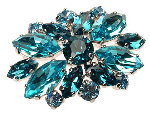 L. Erickson Crystal Adorned Brooch - Light Turquoise/Indicolite/Aquamarine/Silver by L. Erickson