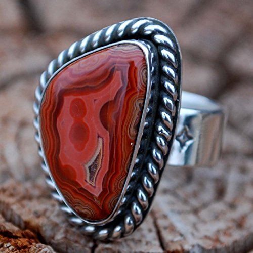 Gorgeous South Dakota Black Hills Teepee Canyon Agate Argentium Sterling Silver Ring Handmade NEW - Very Wide Shank & Large Cabochon