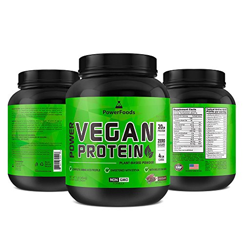 Power Vegan Protein 1lb ★ Plant based powder ★ Sugar Free + Natural Chocolate flavor (15 servings) (Gm Powder Bottle)