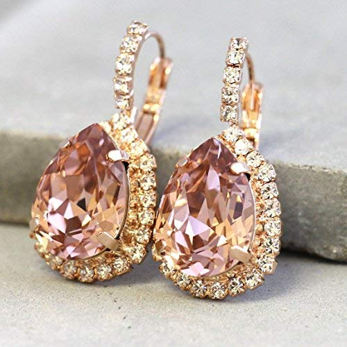 de529b6fae282e Blush Pink Crystal Bridal Earrings, Dangle Teardrop Sparkly Earrings, Gold  Dainty Drops, Swarovski Wedding and Party Jewelry, Handmade Unique  Bridesmaids ...
