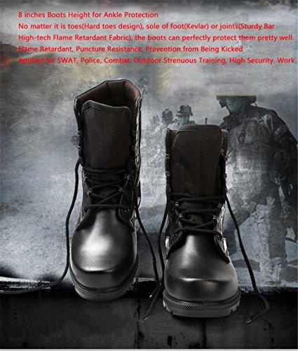 qiangren Combat Stivali in pelle SWAT tattico militare Deployment Uomo Alta superiore