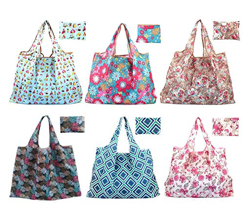 Bekith Set of 6 Foldable Reusable Grocery Bags Eco Friendly Large Grocery Tote Bag, Washable Durable and Lightweight Heavy Duty Purse Shopping Bags]()