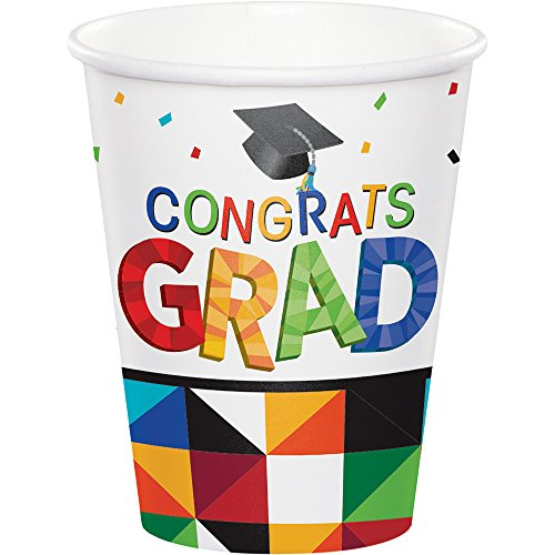 Fun 9 Ounce Cups - Creative Converting 18 Count 9 Ounce Hot/Cold Paper Cups for Graduation Party, Fractal Fun