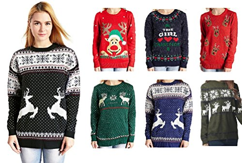 v28 Womens Christmas Reindeer Snowflakes Sweater Pullover