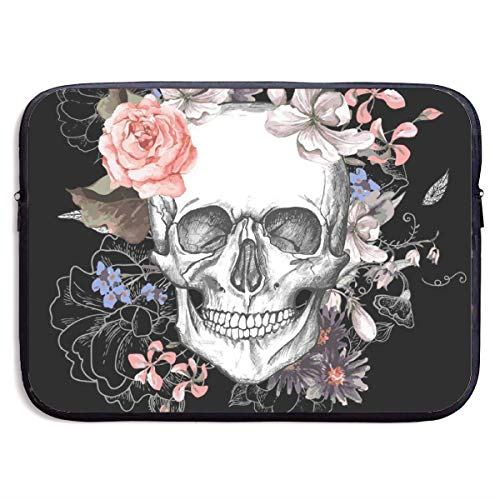 LiaanQianga Floral Skull 13-15 Inch Laptop Sleeve Bag - Tablet Clutch Carrying Case,Water Resistant, Black