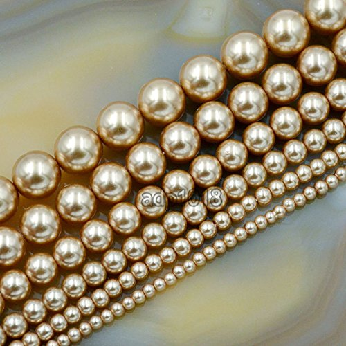 AD Beads Top Quality Czech Glass Pearl Round Beads 16 3mm 4mm 6mm 8mm 10mm 12mm (4mm, Champagne)