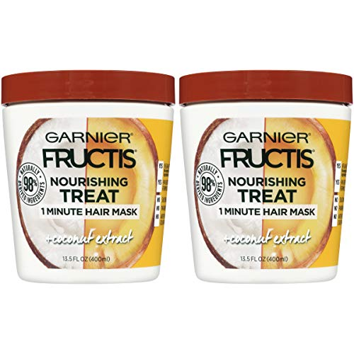 Garnier Fructis Nourishing Treat 1 Minute Hair Mask with Moisturizing Coconut Extract 13.5 Fluid Ounce (Packaging May Vary) Pack of 2 ()