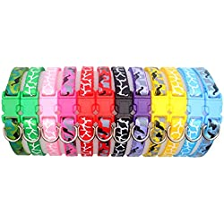 "YOY 12 pcs/set Soft Nylon Puppy Whelping ID Collars - Adjustable Reusable Washable Baby Dog ID Bands Pet Identification for Breeders, Neck 8"" - 14"""