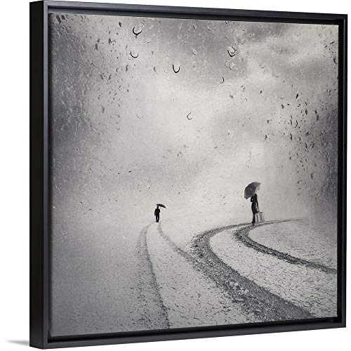 Floating Frame Premium Canvas with Black Frame Wall Art Print Entitled Separated Ways 12