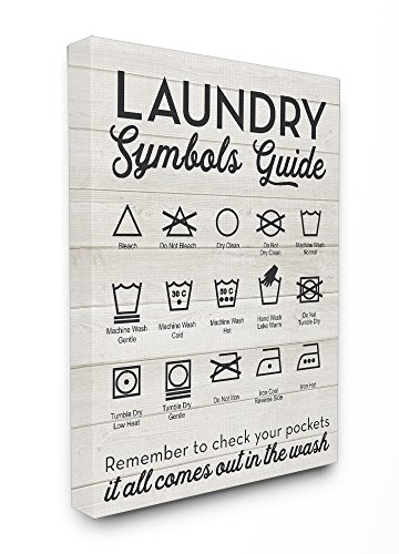 Stupell Home Décor Laundry Symbols Guide Typography Stretched Canvas Wall Art, 16 x 1.5 x 20, Proudly Made in (Symbols Canvas Art)