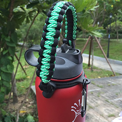 Handle/Carrier for Hydro Flask Wide Mouth Water Bottle with Security Ring,Paracord Survival Strap Handles Include Carabiner and Instructions (Paracord Bracelet Holder)