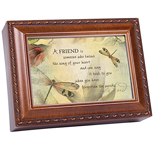 A Friend's Song Woodgrain Rope Trim Music Box Plays Friends Are (Wood Trim Boxes)