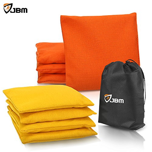 JBM Cornhole Bag 8 Color Available (Pack of 8) Weather Resistant Cornhole Bags with Recycled Plastic Pellets for Tossing Corn Hole Game - Free Carrying Bag Included