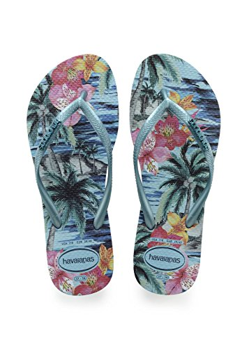 Tropical Flip Splash Blue Havaianas Womens Slim Rubber Flops EBZnv8q