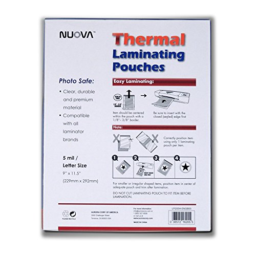 Large Product Image of Nuova 200-Pack, 5 Mil Thermal Laminating Pouches 9 x 11.5 Inches, Letter Size