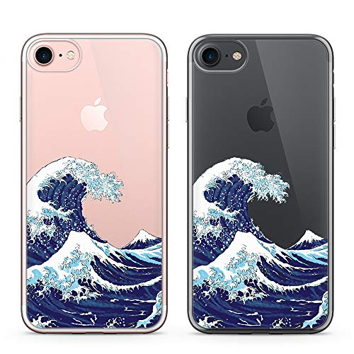 Case Clear Creative - uCOLOR Japanese Wave Case for iPhone 6S Clear Case,iPhone 6 Transparent Clear Case for iPhone 8,iPhone 7 Hybrid TPU Bumple + Hard Back Cover for iPhone 6S/6/8/7 (4.7 inch)