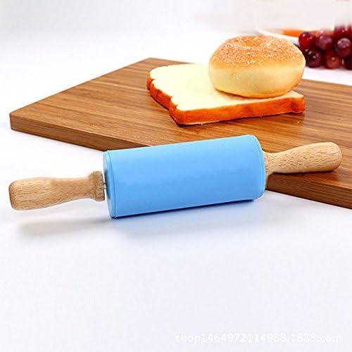 GKood Lot de 2 mini rouleaux à pâtisserie en silicone pour enfants avec manche en bois anti-adhésif pour enfants