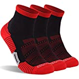 Running Socks Men, ZEALWOOD Low Cut Cushioned No Show Padded Athletic Sport Training Socks, Antibacterial Socks,Gym Quarter Trail Running Socks Socks,Ankle Athletic Socks Father Gift 3 Pairs-Black/Red