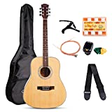 Acoustic Guitar Bundle 41 inch Dreadnought Full Size Guitar Beginner Kit with Guitar bag,Tuner, Strings, Strap, Picks,Pitch Pipe, Capo (Natural)