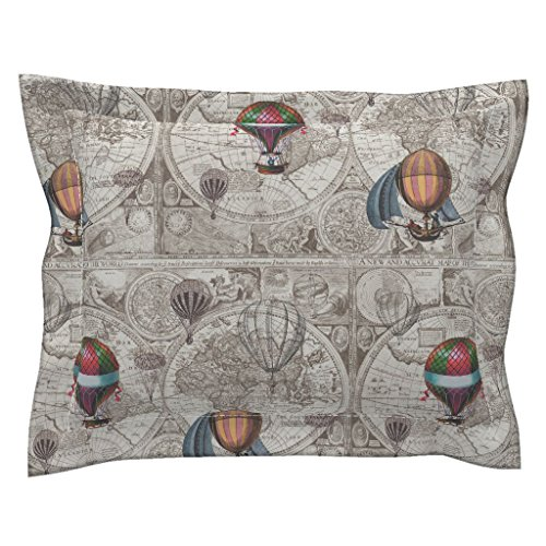 Roostery Hot Air Balloons Antique Map Brown Beige World Map Pillow Sham by Roostery