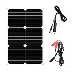 ALLPOWERS Solar Battery Maintaner 18V 12V 18W Solar Car Boat Power Panel Charger Maintainer for Automobile Motorcycle Tractor Boat