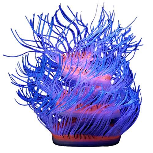 (Aquarium Fish Tank Glowing Sea Anemone Ornament Folding Changeable Decoration Lifelike)
