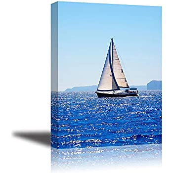 Canvas Wall Art for Bedroom, PIY Blue Sea Sailboat Picture, Modern Prints Artwork Decor (1