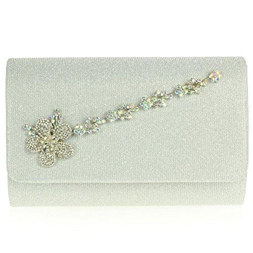 Frau Damen Kristall Diamant Detail Abend Party Hochzeit Braut Abschlussball Clutch Handtasche Silber YGxekzkZ