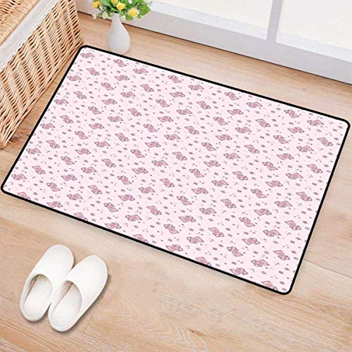 Toys,Door Mats,Teddy Bear with Squares Hearts and Blooming Flowers Pastel Colored Illustration,Bath Mat Bathroom Mat with Non Slip,Pale Pink Purple 24