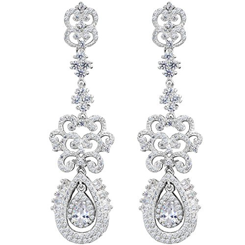 EVER FAITH 925 Sterling Silver Cubic Zirconia Vintage Style Art Deco Tear Drop Chandelier Earrings Clear