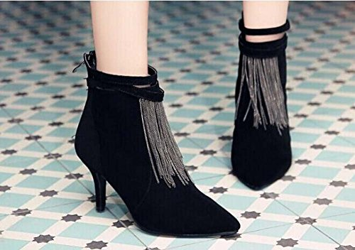 Pointed 43 Boots Women 8cm 32 Shoes Toe Dress Shoes Court Tassel Bootie Strap Seude Zipper Size Black Eu Charming Stiletto Ankle Ankle xwqBRw4C