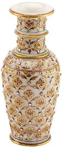 The Hue Cottage Flower Vase Rajasthani Marvel In Marble Kundan Work Decorative Showpiece Golden Handcrafted Indian Gift Items Decor