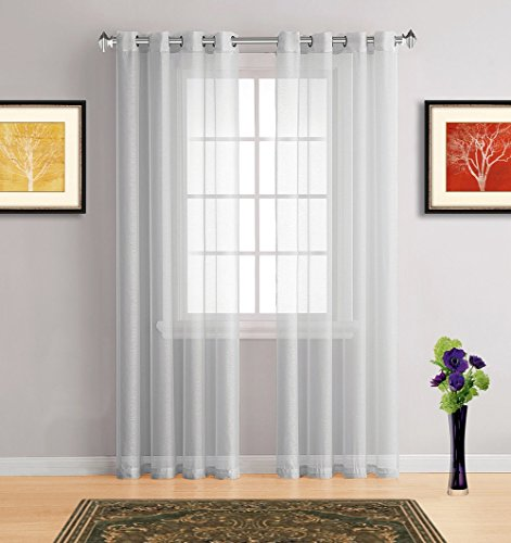 Warm Home Designs Pair of Short Grey Silver Sheer 54 x 72 Inch Window Curtains with Grommets. Includes 2 Voile Panel Drapes for Bedroom, Kitchen, Kids Room or Living Room - K Silver 72