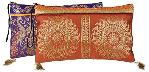 Handmade Antique Silk Clutch Wristlet Indian Made Purse Organza Bag with Ethnic design Wedding Gift Pouch (Set of two) by The MadhuSudan Gallery