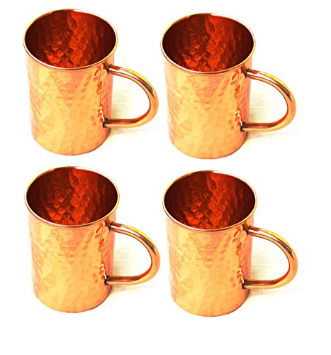BLUE NIGHT Hammered Copper Moscow Mule Mug Handmade of 100% Pure Copper, Drinkware Accessories Hammered Copper Moscow Mule Mug Capacity-16 Oz. (4)