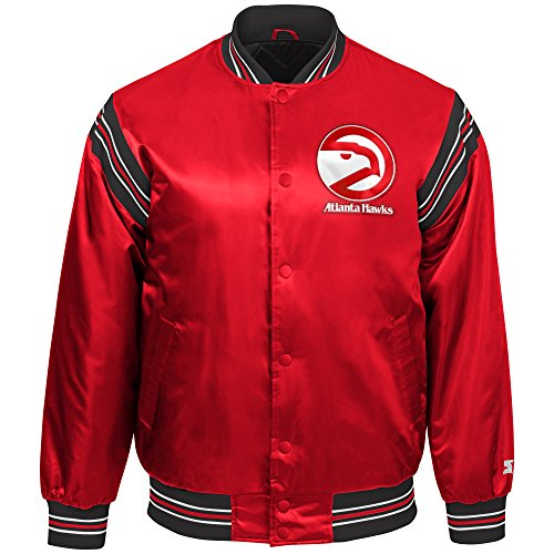 STARTER NBA Atlanta Hawks Youth Boys The Enforcer Retro Satin Jacket, Medium, Red ()