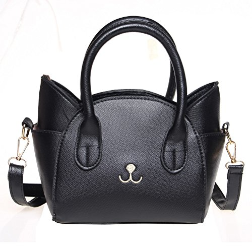 Girls Handbag Purse (Handbag for Women, Cute Cat Top Handle Tote Bag, Girls Leather Satchel Cross Body Shoulder Bag with Strap Black)