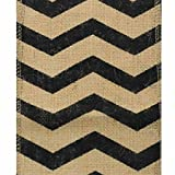 6'' Wide x 10 Yards Chevron Design Natural Burlap Ribbon (BLACK)